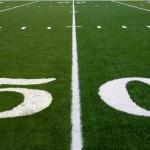 50 yard line on an american football field
