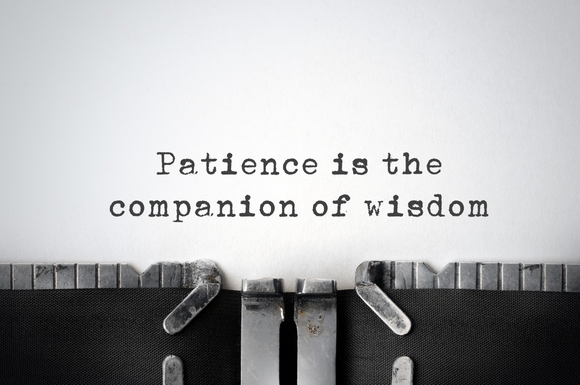 Patience. Inspirational quote typed on an old typewriter.