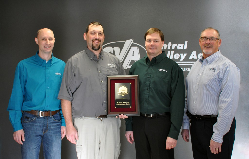 Sixth annual precision awards program honors Central Valley Ag as top North American dealer for 2018. Pictured (l to r) are Chris Winkelbauer, Advanced Cropping Systems (ACS) equipment manager; Keith Byerly, ACS manager; Glen Franzluebbers, director of professional ag services and Karl Hensley, senior vice president of agronomy.